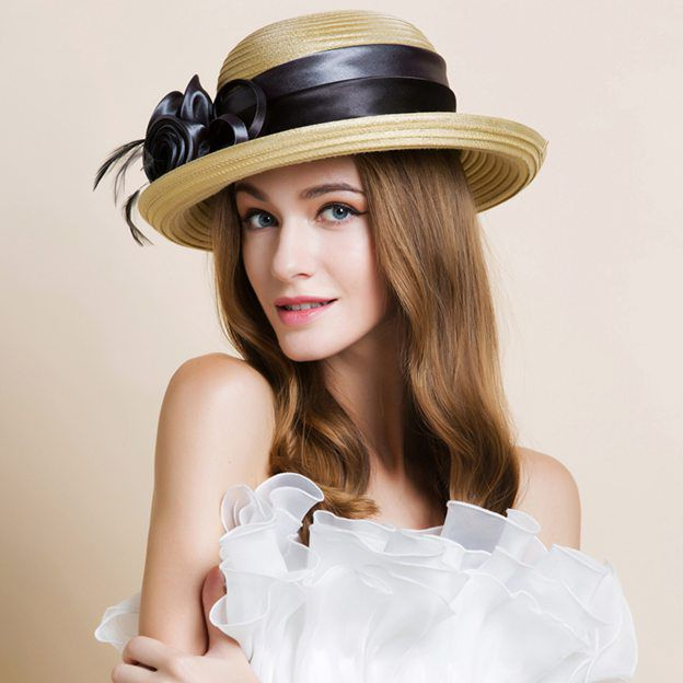 Ladies' Classic/Pretty Polyester Beach/Sun Hats/Straw Hats/Bowler/Cloche Hats With Flower Feather