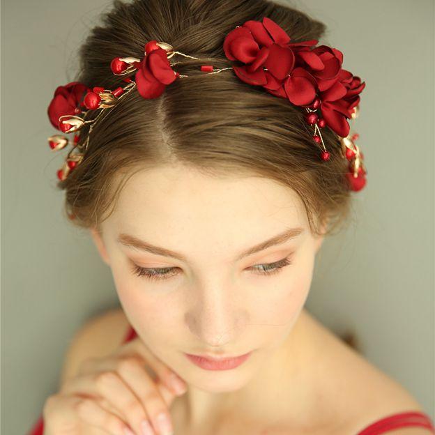 Ladies Alloy/Silk Flower With Venetian Pearl/Crystal Headbands (Sold in single piece)