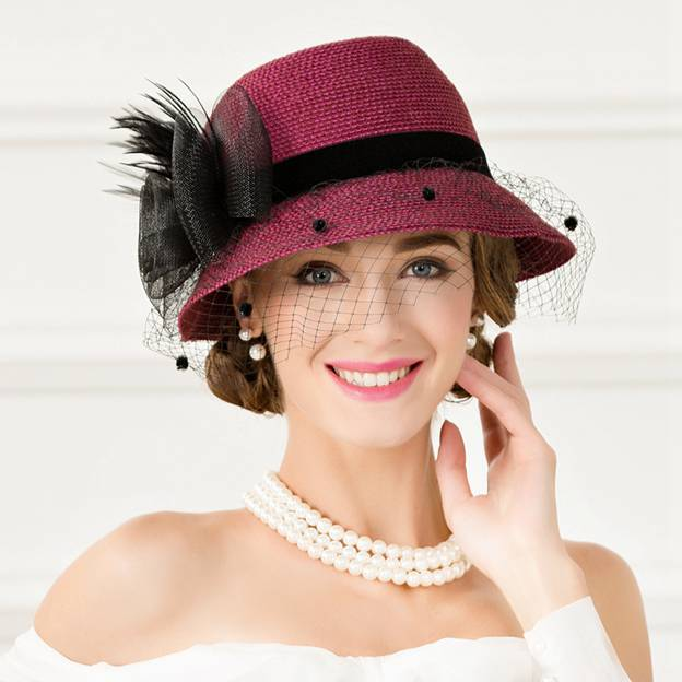 Ladies' Elegant/Charming/Beautiful Polyester Floppy Hats/Tea Party Hats With Tulle Feather Flower
