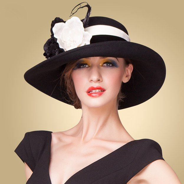 Ladies' Elegant/Eye-catching Wool Bowler/Cloche Hats/Tea Party Hats With Flower Feather