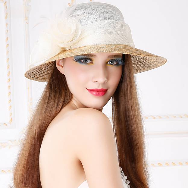 Ladies' Glamourous/Beautiful Cambric Raffia Straw Straw Hats/Beach/Sun Hats With Flower Feather