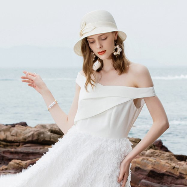 Ladies' High Quality/Simple Pp Straw Hats/Beach/Sun Hats/Bucket Hats With Bowknot