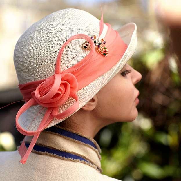 Ladies' Beautiful/Nice Linen Floppy Hats/Beach/Sun Hats With Flower