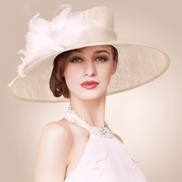 Ladies' Eye-catching/Elegant Cambric Kentucky Derby Hats With Feather Flower