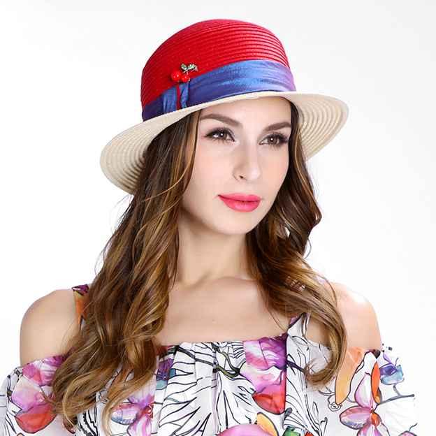 Ladies' Eye-catching/Nice Pp Satin Straw Hats/Beach/Sun Hats With Diamond