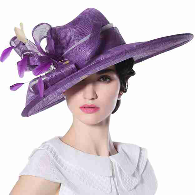 Ladies' Nice/Elegant/Beautiful Linen Kentucky Derby Hats With Flower Feather Diamond