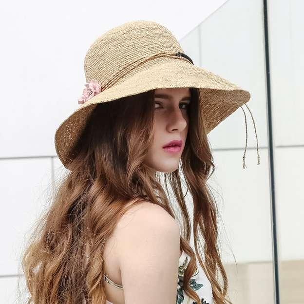 Ladies' Beautiful/Nice Raffia Straw Floppy Hats/Straw Hats With Flower