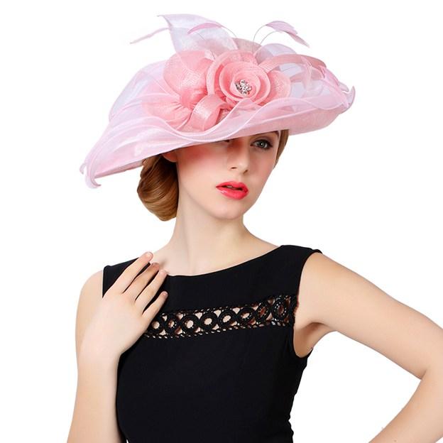 Ladies' Beautiful/Elegant Linen Beach/Sun Hats/Tea Party Hats With Flower Diamond Feather