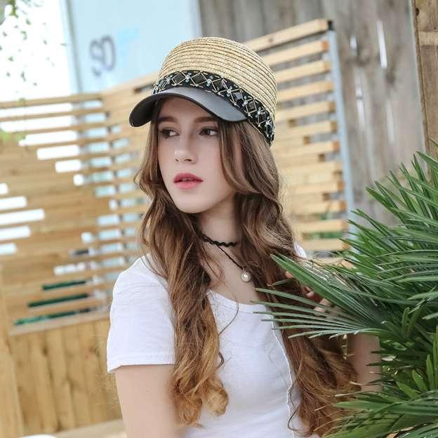Ladies' Nice/Simple Leather Wheat Straw Baseball Caps/Straw Hats With Diamond