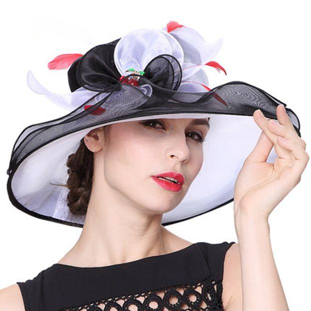 Ladies' Elegant/Beautiful Organza Beach/Sun Hats/Kentucky Derby Hats With Flower Feather