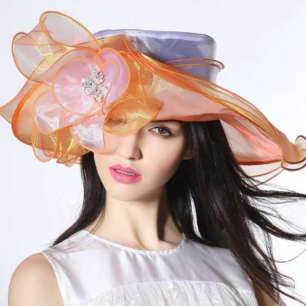 Ladies' Beautiful/Elegant Organza Beach/Sun Hats/Kentucky Derby Hats With Flower Diamond