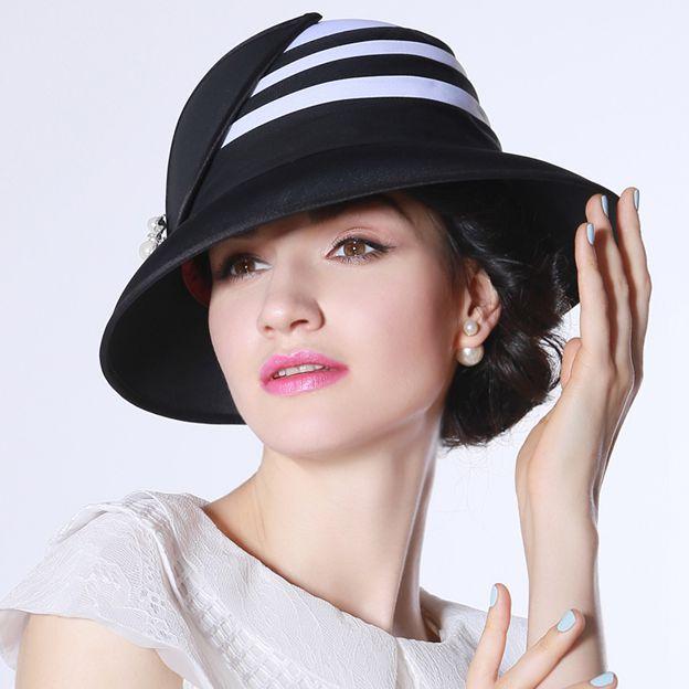 Ladies' High Quality/Elegant Chiffon Beach/Sun Hats/Bowler/Cloche Hats With Imitation Pearls Diamond