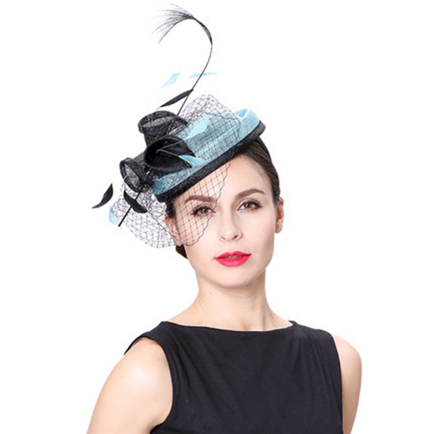 Ladies' Beautiful/Elegant Linen Tea Party Hats/Fascinators With Tulle Flower Feather