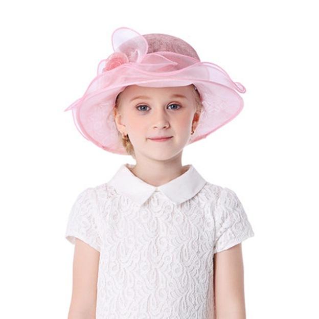 Child's Elegant/Beautiful Organza Linen Beach/Sun Hats/Tea Party Hats With Flower