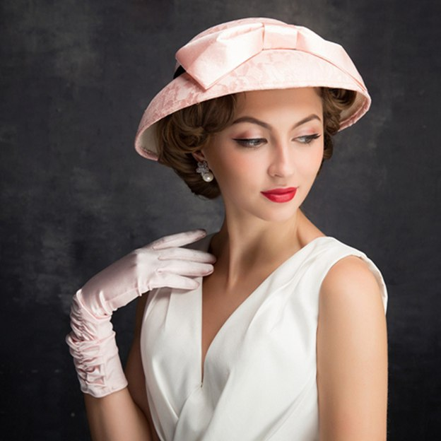 Ladies' Beautiful/Elegant Lace Satin Tea Party Hats With Bowknot