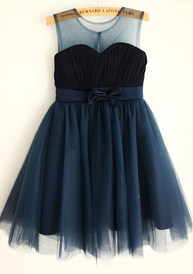 A-line/Princess Knee-Length Illusion Neck Chiffon/Tulle Flower Girl Dress With Bowknot