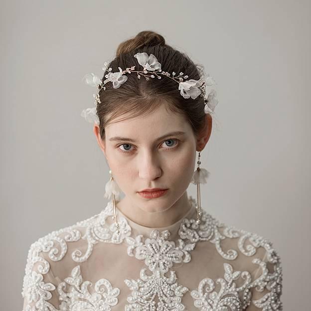 Ladies Beautiful/Elegant Chiffon With Flower Rhinestone Headbands (Sold in single piece)