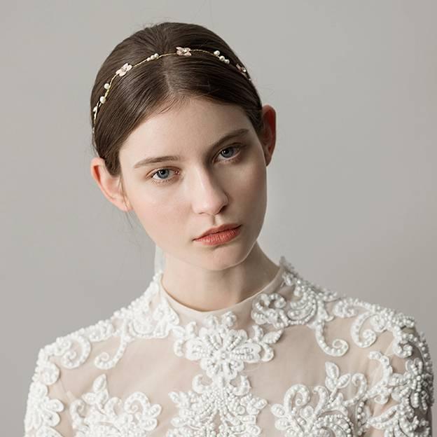 Ladies Imitation Pearls With Flower Venetian Pearl/Rhinestone Headbands (Sold in single piece)