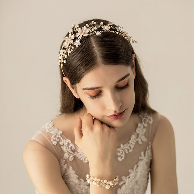 Ladies Alloy/Imitation Pearls With Flower Venetian Pearl/Rhinestone Headbands