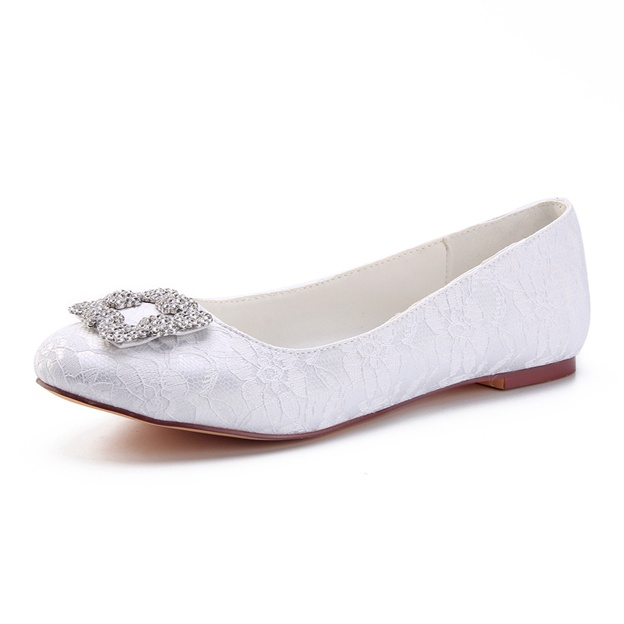 Women's Lace With Rhinestone Close Toe Flats Wedding Shoes