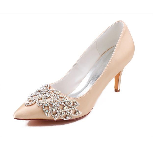 Women's Satin With Rhinestone Close Toe Heels Wedding Shoes