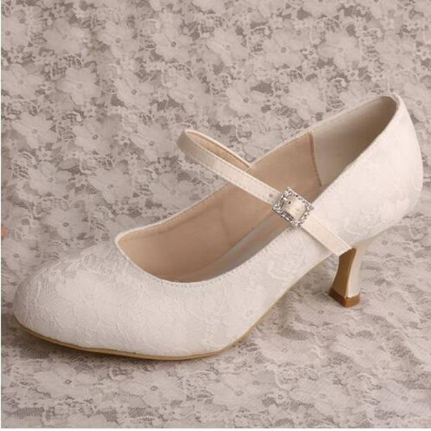 Women's Lace With Buckle Close Toe Pumps Heels Wedding Shoes