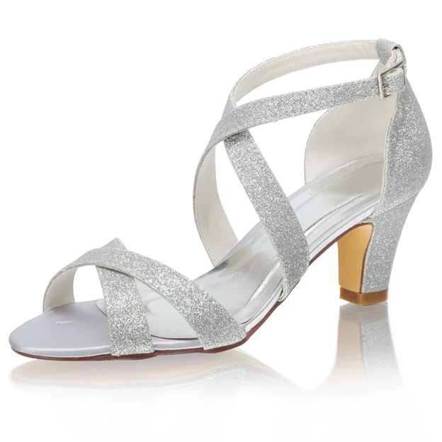 Women's Sparkling Glitter With Buckle Heels Sandals Peep Toe Wedding Shoes