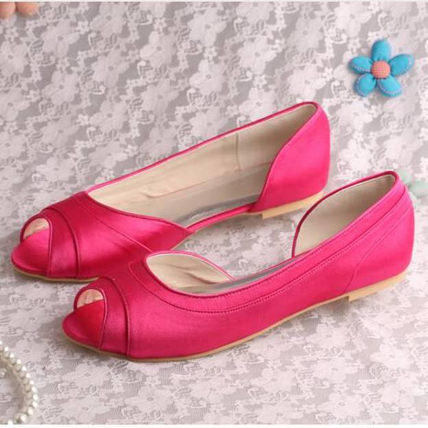 Women's Satin Flats Peep Toe Wedding Shoes