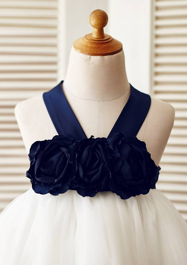A-line/Princess Knee-Length Halter Satin/Tulle Flower Girl Dress With Flowers