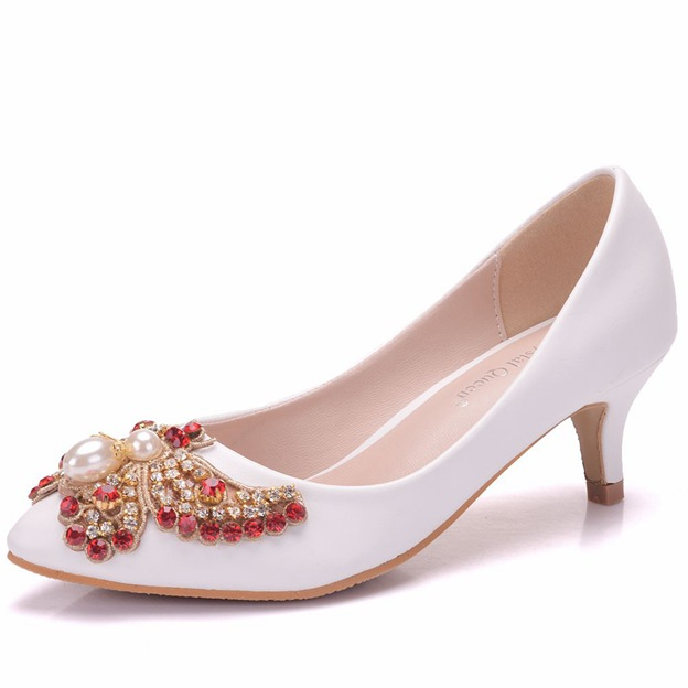 Women's PU With Imitation Pearl/Beading Close Toe Heels Wedding Shoes
