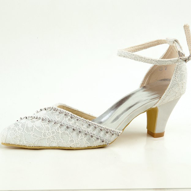 Women's Lace Satin With Chain/Ankle Strap Close Toe Heels Sandals Wedding Shoes