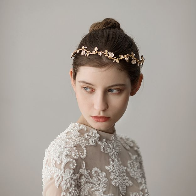Ladies Alloy/Imitation Pearls With Flower Venetian Pearl Headbands (Sold in single piece)