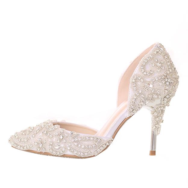 Women's Satin With Beading Close Toe Heels Wedding Shoes