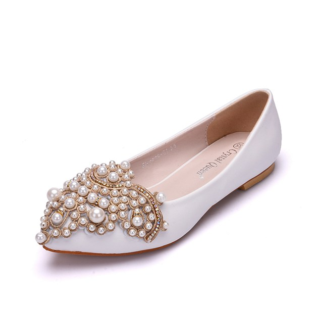 Women's PU With Imitation Pearl Flats Close Toe Wedding Shoes