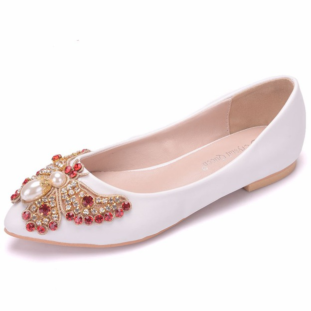 Women's PU With Rhinestone/Imitation Pearl Flats Wedding Shoes
