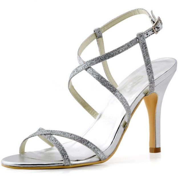 Women's Sparkling Glitter With Ankle Strap Peep Toe Heels Fashion Shoes