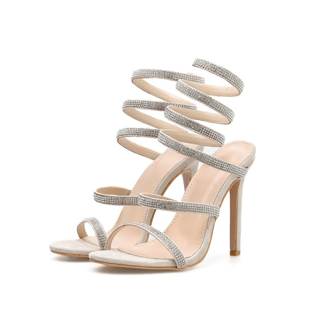 Women's Suede With Rhinestone Sandals SlingBacks Heels Fashion Shoes