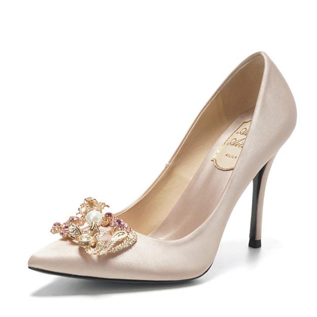 Women's Satin With Rhinestone/Imitation Pearl Close Toe Heels Fashion Shoes