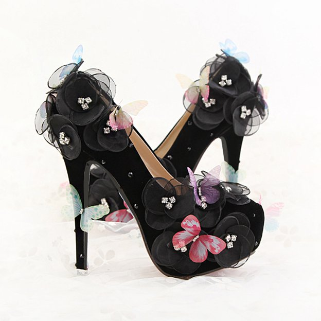 Women's PU With Flowers Close Toe Heels Fashion Shoes