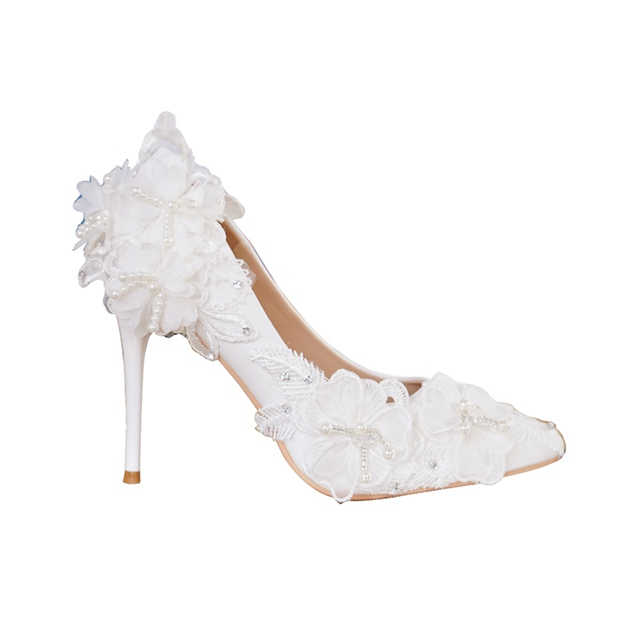 Women's PU With Appliqued Close Toe Heels Wedding Shoes