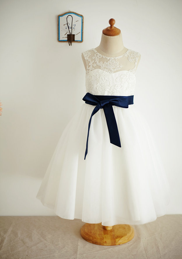 A-line/Princess Tea-Length Illusion Neck Lace/Tulle Flower Girl Dress With Sashes