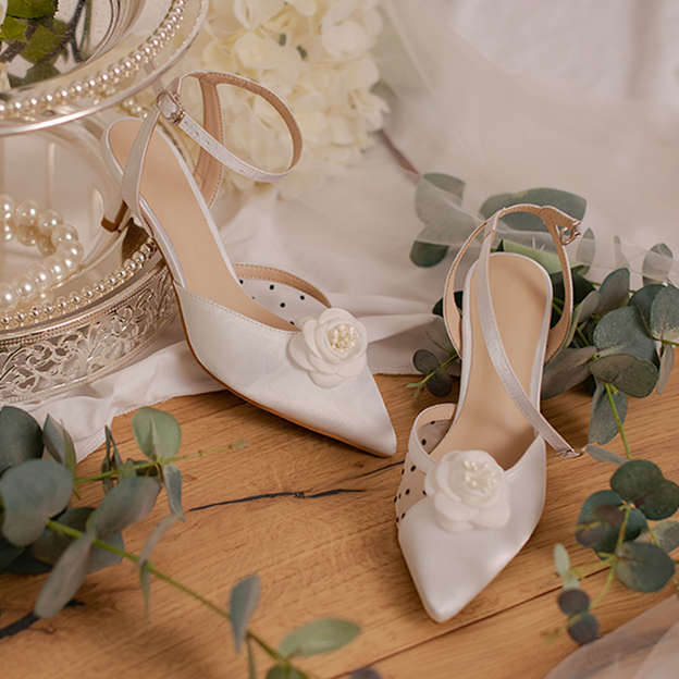 Women's Silk Like Satin With Flowers/Ankle Strap Close Toe SlingBacks Shoes