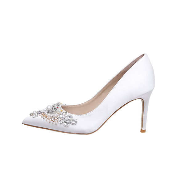 Women's Silk Like Satin With Rhinestone/Imitation Pearl Close Toe Heels Pumps Shoes