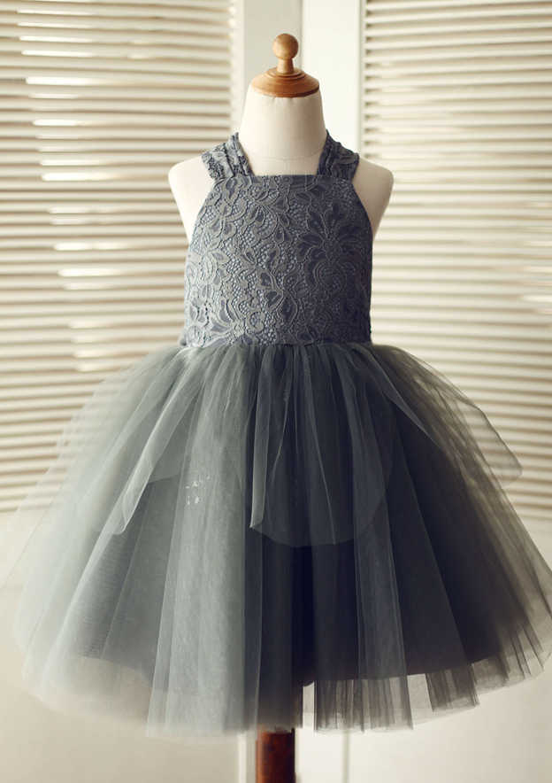 A-line/Princess Knee-Length Halter Lace/Tulle Flower Girl Dress With Bowknot