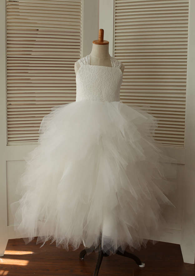 A-line/Princess Asymmetrical Square Neckline Tulle Flower Girl Dress With Bowknot
