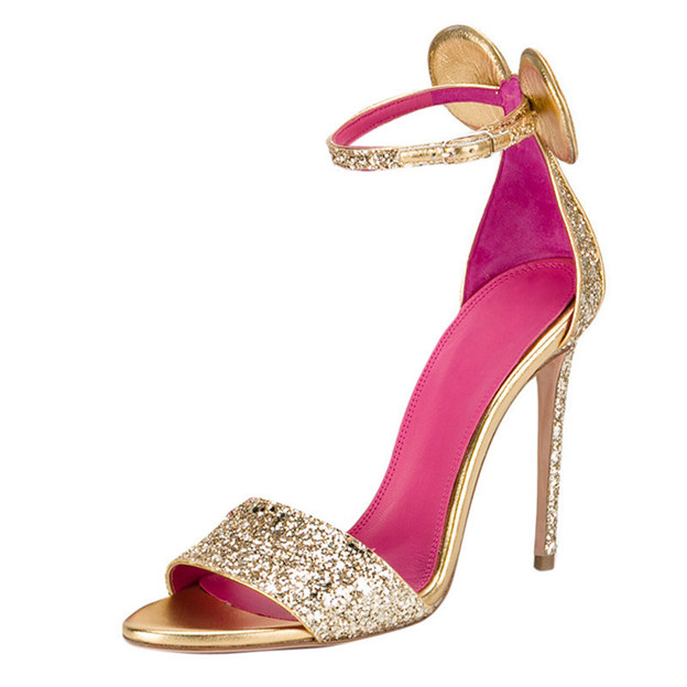 Women's Satin Sparkling Glitter With Buckle Heels Peep Toe Fashion Shoes