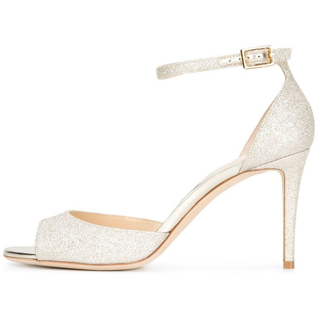 Women's Sparkling Glitter With Buckle Heels Peep Toe Sandals Fashion Shoes