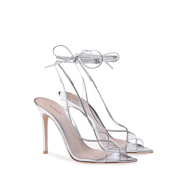 Women's PVC With Lace-up Heels Peep Toe SlingBacks Fashion Shoes