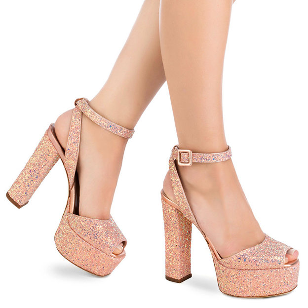 Women's Sparkling Glitter With Ankle Strap Heels Peep Toe Platform Fashion Shoes