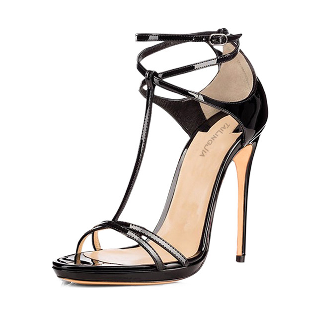 Women's PU With T-Strap/Ankle Strap Heels Peep Toe Fashion Shoes